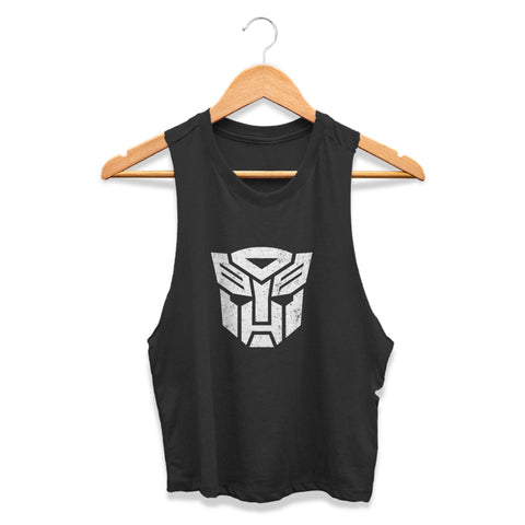 Transformers Autobots Robots In Disguise Optimus Prime Roll Out Bumblebee 80s Cartoon Movie Hasbro Toys More Than Meets The Eye CPY Womans Crop Tanktop Tee