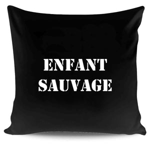 Wild Child French Quote Typography Pillow Case Cover