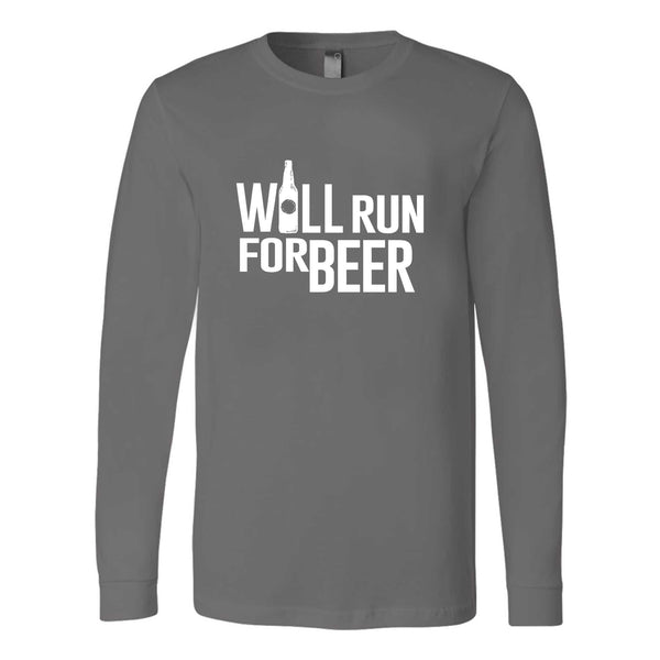 Will Run For Beer Funny Running Long Sleeve T-Shirt