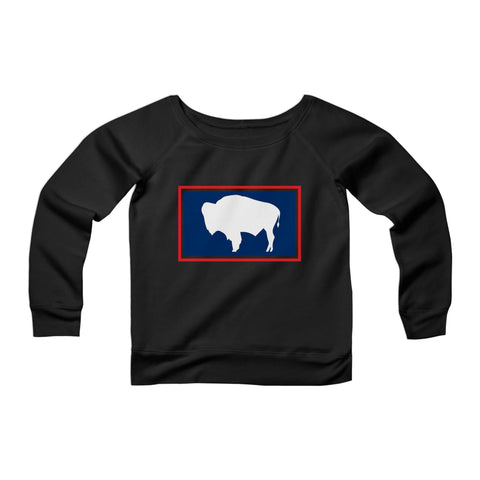 Wyoming Flag Buffalo Vintage CPY Womans Wide Neck Sweatshirt Sweater