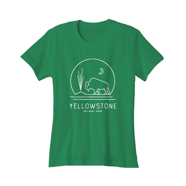 Yellowstone National Park Bison Geyser Hipster Modern Camping Women's T-Shirt