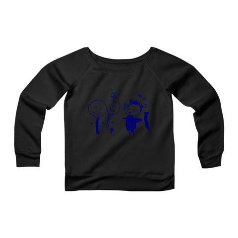 Your Child Drawing Gift For Grandmother Own Drawing CPY Womans Wide Neck Sweatshirt Sweater