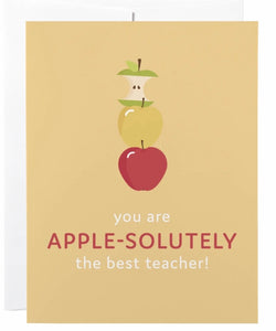 """Apple-Solutely Best Teacher"" Card"