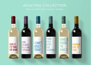"""Adulting"" Wine Labels"