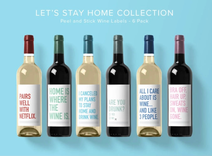 Let's Stay Home Wine Labels
