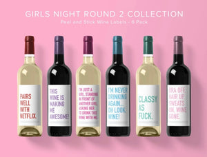 """Girls Night Round 2"" Wine Labels"