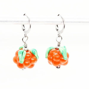 Glass Bakeapple Dangle Earrings