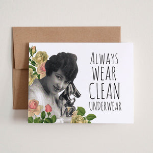 """Clean Underwear"" Greeting Card"