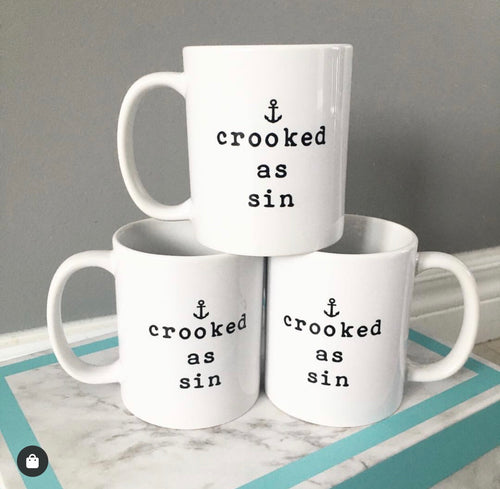 Crooked as Sin Mug in White