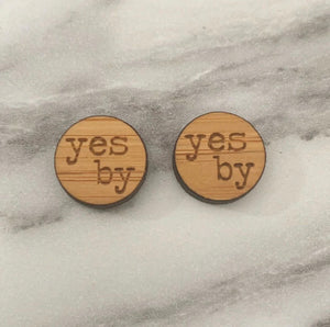 Yes B'y Wooden Stud Earrings
