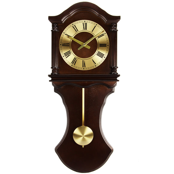 Bedford Clock Collection Chocolate Wood Wall Clock with Pendulum and C