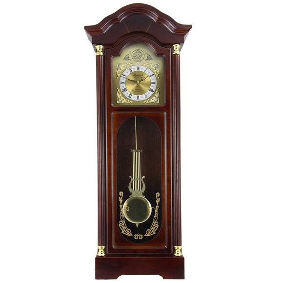 Bedford Clock Collection 33 Antique Cherry Oak Finish Chiming Wall Clo