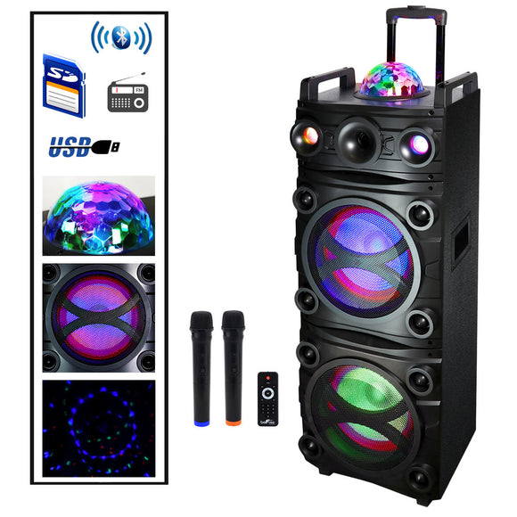 Befree Sound Dual 10 Inch Subwoofer  Bluetooth Portable Party Speaker