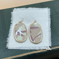 camo drop earrings tan