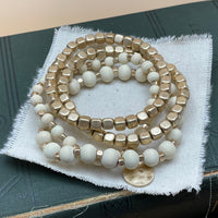 wood beaded stretch bracelet set (gold)