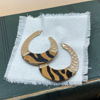 animal print hammered j hoop earrings