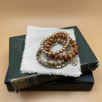 semi precious beaded stretch bracelet set