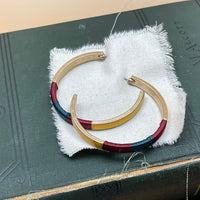 enamel coated wrapped hoop earrings (yellow)