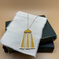 long necklace with leather/metal tassel pendant (yellow)
