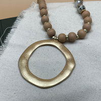 long wood beaded necklace with pendant