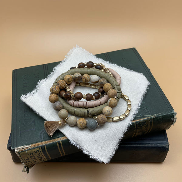semi precious beaded boho stretch bracelet (picture jasper)