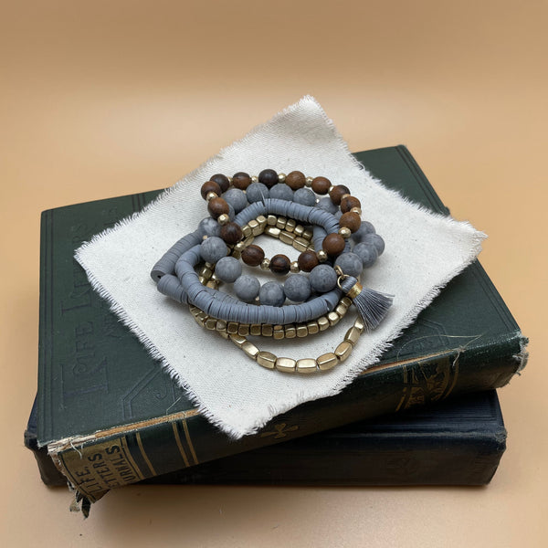 semi precious beaded boho stretch bracelet (grey)