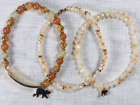 Goldtone Mama Bear w 1 Cub Lt Brown Beaded Bracelet Set