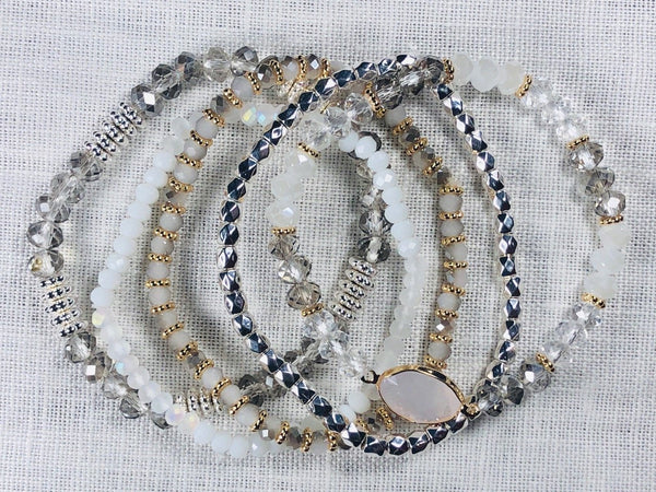 Light Gray Two-Tone Mixed Bead Stretch Bracelet Set