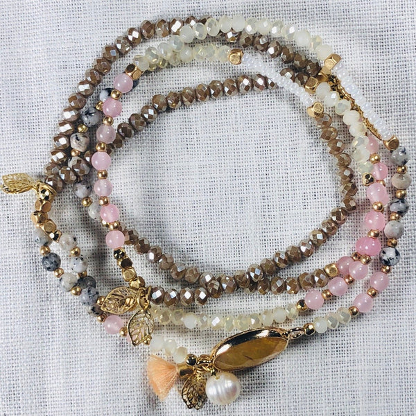 Natural Gem and Tassel Cluster Charm Beaded Wrap Bracelet