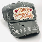 "Distressed Steel Gray ""Proud Mama"" Cap"