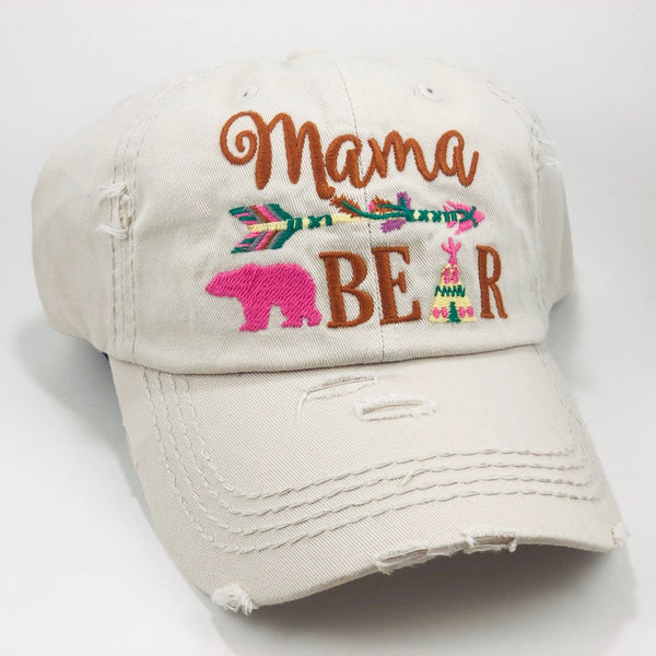 "Distressed Stone Western ""Mama Bear"" Cap"