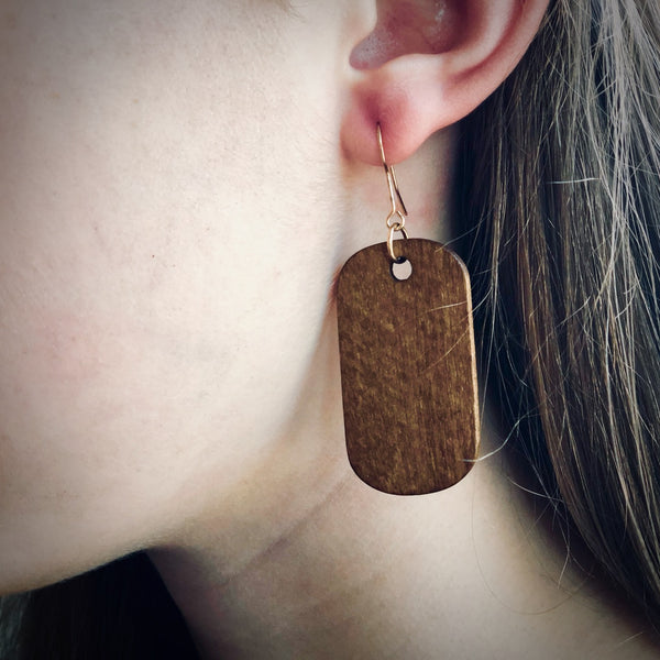 Wood Tag Earrings