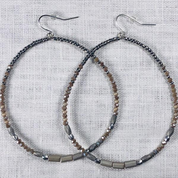 Gray Glass Bead Large Hoop Earring