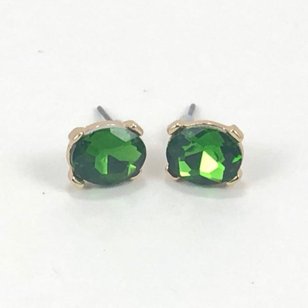 Olive Faceted Frame Post Earring