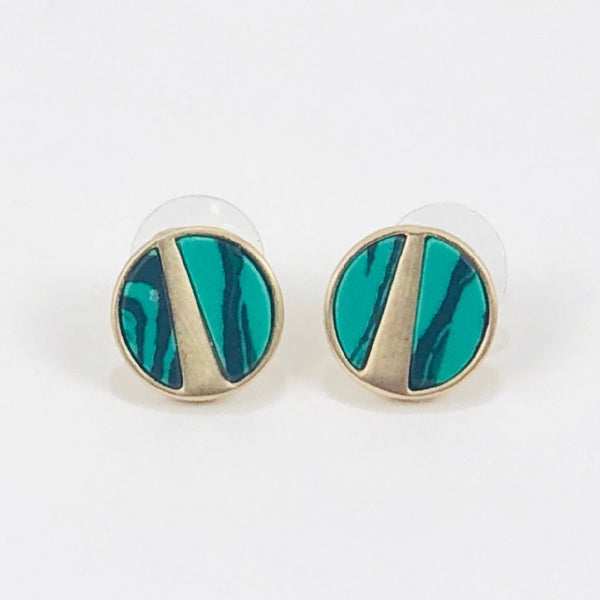 Round Metal Gem Post Earring