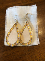 Earrings Ivory and Goldtones Teardrop