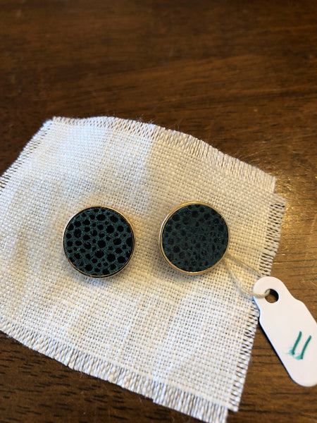 Earrings Round Post Teal Spotted