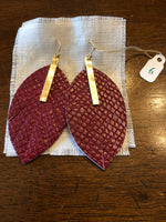 Earrings Red Leather Feather with Gold Bar