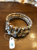 Bracelet Gold and Brown Beaded Wrap