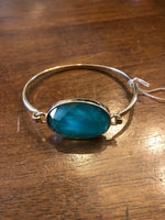 Bracelet Gold Bangle Teal Gemstone
