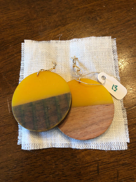 Earrings Yellow Brown Wood Round
