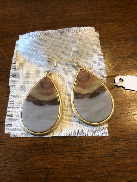 Earrings Gray and Brown Stone Teardrop Small