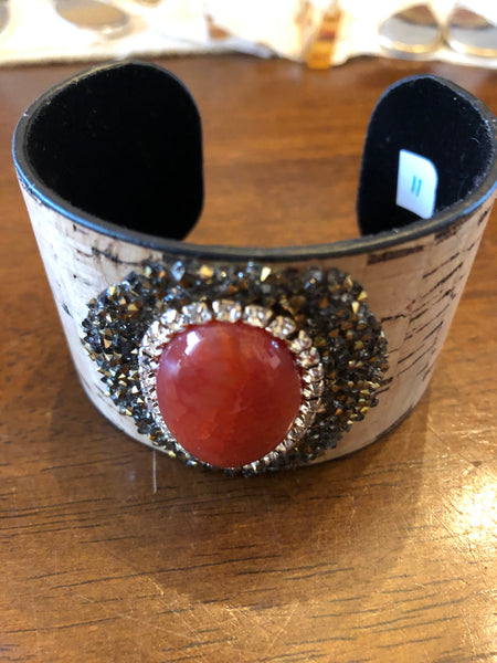 Bracelet Cork and Red Stone Wide Cuff