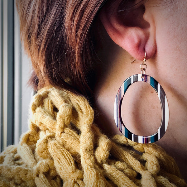 Acrylic Striped Earrings