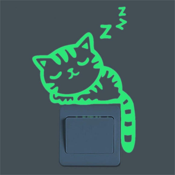 Glow in the Dark Cat Switch Wall Sticker