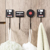 4x Set of Retro Tape Floppy Disk and Vinyl Wall Hooks