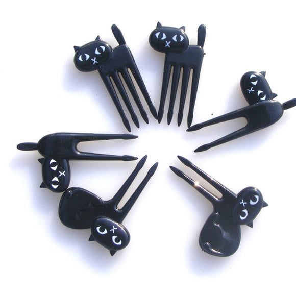 Black Cats Fruit Fork 6pc set