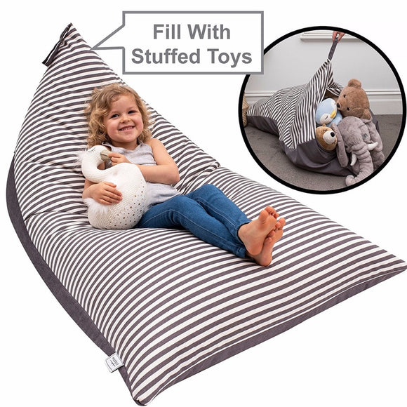 2-in-1 Large Kids Folding Lounge Chair and Toy Storage Bag