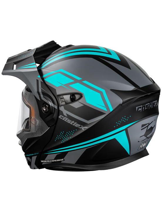 castle cx950 siege electric helmet black turquoise back