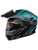 castle cx950 siege electric helmet black turquoise front